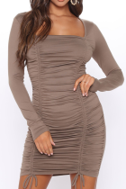 Grey Sexy Solid Draw String Square Collar Pencil Skirt Dresses