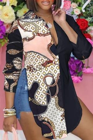 Black Pink Casual Print Split Joint Slit Turndown Collar Tops