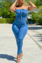 Baby Blue Fashion Casual Solid Backless Strapless Skinny Jumpsuits