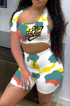 White Sexy Letter Print Hollowed Out Split Joint Asymmetrical Asymmetrical Collar Short Sleeve Two Pieces