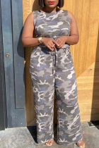 Camouflag Gray Casual Camouflage Print Split Joint U Neck Straight Jumpsuits