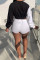 Black Fashion Casual Patchwork Bandage O Neck Long Sleeve Two Pieces