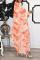 Tangerine Red Sexy Print Split Joint Half A Turtleneck Irregular Dress Dresses