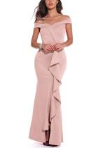 Pink Sexy Party Off Shoulder Irregular Dress