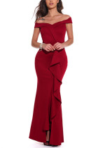 Red Sexy Party Off Shoulder Irregular Dress