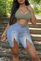 Light Blue Fashion Casual Solid Bandage Slit Regular High Waist Jeans