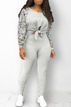 Light Gray Street Print Bandage Hollowed Out Split Joint O Neck Long Sleeve Two Pieces