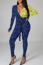 Blue Yellow Red Sexy Letter Print Split Joint V Neck Skinny Jumpsuits