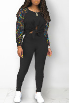 Black Street Print Bandage Hollowed Out Split Joint O Neck Long Sleeve Two Pieces