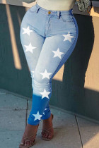 Light Blue Fashion Casual The stars Printing Plus Size Jeans