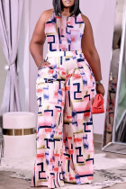 Pink Fashion Casual Print Vests Pants O Neck Sleeveless Two Pieces