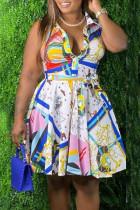 Multicolor Casual Print Split Joint Buttons Turndown Collar A Line Plus Size Dresses