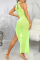 Fluorescent Green Sexy Solid Split Joint Mesh Swimwears Cover Up