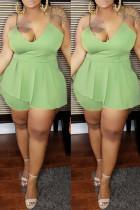 Green Sexy Fashion Plus Size Suspenders Romper