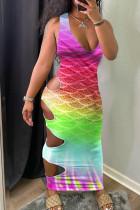 Purple Street Gradual Change Print Hollowed Out Split Joint V Neck Vest Dress Dresses
