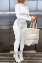 White Fashion Casual Solid Basic Turtleneck Skinny Jumpsuits