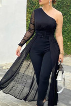 Black Sexy Solid Split Joint With Belt Mesh One Shoulder Straight Jumpsuits