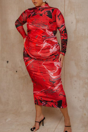 Red Sexy Print Split Joint Backless Half A Turtleneck Pencil Skirt Plus Size Dresses