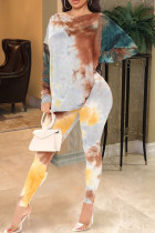 Yellow Casual Print Tie Dye Split Joint Backless Knotted O Neck Long Sleeve Two Pieces