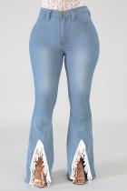 Light Blue Fashion Casual Solid Split Joint Slit Plus Size Jeans