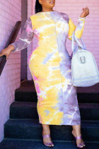 Multicolor Fashion Casual Plus Size Tie Dye Printing O Neck Long Sleeve Dresses