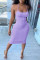Light Purple Fashion Sexy Solid Backless Spaghetti Strap Sleeveless Dress