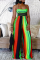 Rainbow Color Sexy Striped Split Joint Halter Loose Jumpsuits