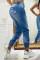 Blue Fashion Casual Print Ripped High Waist Regular Jeans