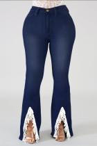 Deep Blue Fashion Casual Solid Split Joint Slit Plus Size Jeans