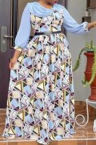 Blue Casual Print Split Joint O Neck Cake Skirt Plus Size Dresses