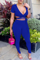 Blue Sexy Casual Solid Bandage V Neck Short Sleeve Two Pieces