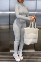 Grey Fashion Casual Solid Basic Turtleneck Skinny Jumpsuits