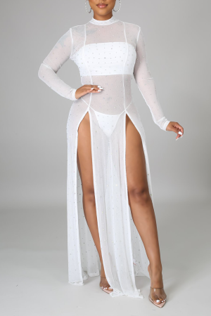 White Sexy Hot Drilling High Opening Half A Turtleneck Irregular Dress Dresses