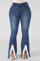 Blue Fashion Casual Solid Split Joint Slit Plus Size Jeans