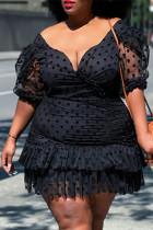 Black Fashion Sexy Plus Size Dot Split Joint Backless V Neck Short Sleeve Dress