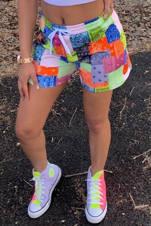 Green Fashion Casual Print Basic Plus Size Shorts