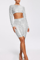 Silver Fashion Casual Sequins Two-Piece Set