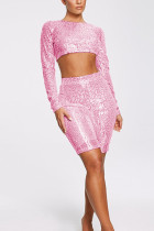 Pink Fashion Casual Sequins Two-Piece Set