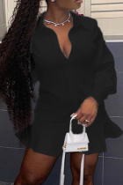 Black Casual Solid Flounce Turndown Collar Shirt Dress Dresses