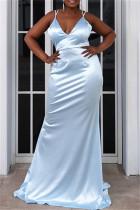 Blue Fashion Sexy Plus Size Solid Backless Strap Design Spaghetti Strap Evening Dress