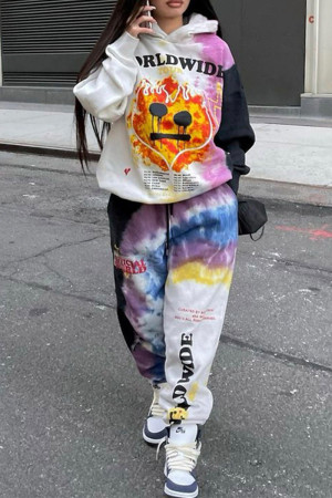 White Fashion Casual Print Split Joint Hooded Collar Long Sleeve Two Pieces