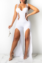 White Sexy Solid Hollowed Out Spaghetti Strap Skinny Jumpsuits