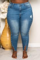 Blue Fashion Casual Plus Size Denim Trousers