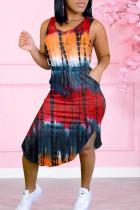 Red Casual Print Split Joint Asymmetrical O Neck Vest Dress Dresses