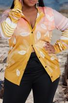 Yellow Casual Print Split Joint Turndown Collar Plus Size Overcoat