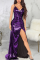 Purple Sexy Solid High Opening Cake Skirt Dresses
