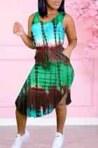 Green Casual Print Split Joint Asymmetrical O Neck Vest Dress Dresses