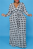 Black And White Fashion Casual Plus Size Print With Belt V Neck Long Sleeve Dresses