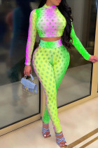 Green Fashion Casual Print Hollowed Out Half A Turtleneck Long Sleeve Two Pieces