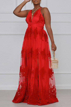Red Fashion Sexy Plus Size Solid Embroidered Backless Spaghetti Strap Long Dress